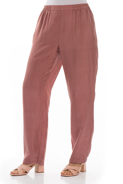 Tapered Cinnamon Silk Trousers