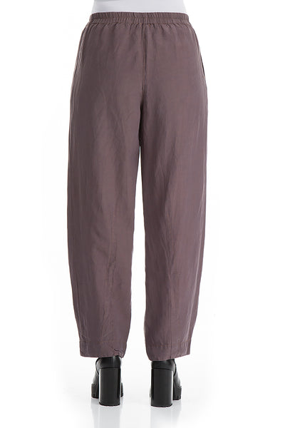 Tapered Dust Violet Silk Linen Trousers