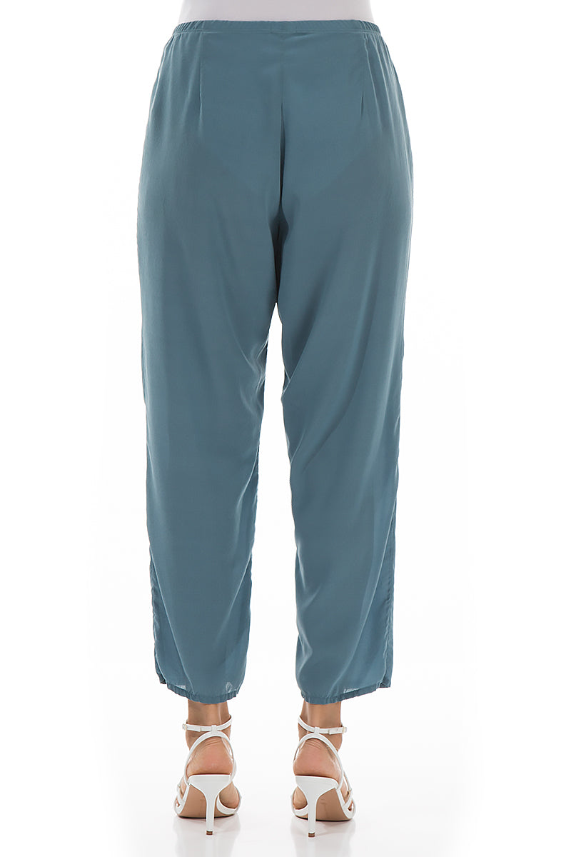 Tapered Steel Blue Silk Trousers