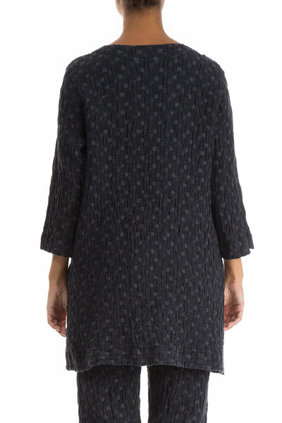 Textured Anthracite Linen Cotton Tunic