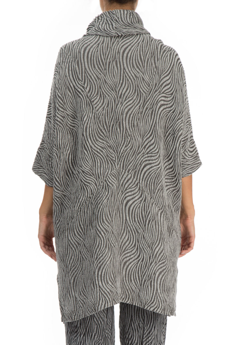 Textured Anthracite Silk Linen Tunic