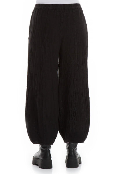 Textured Black Linen Trousers