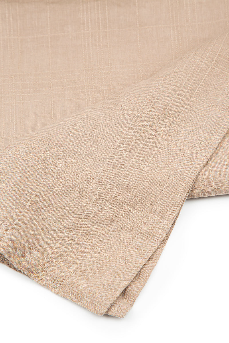 Textured Cappuccino Soft Linen Table Runner