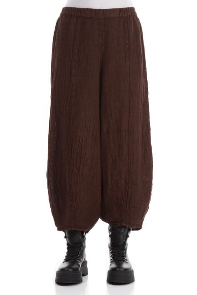 Textured Cinnamon Linen Trousers