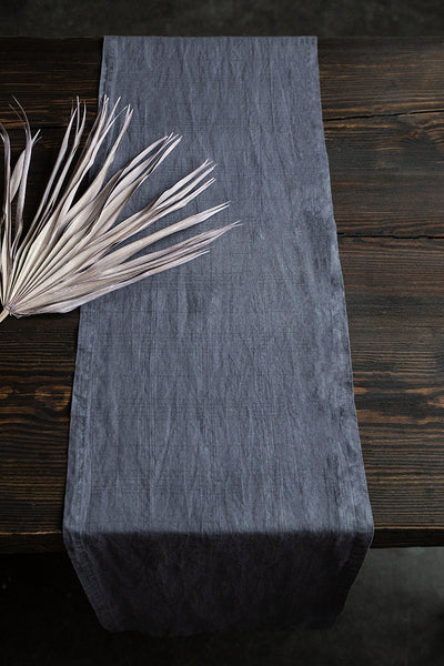 Textured Graphite Soft Linen Table Runner