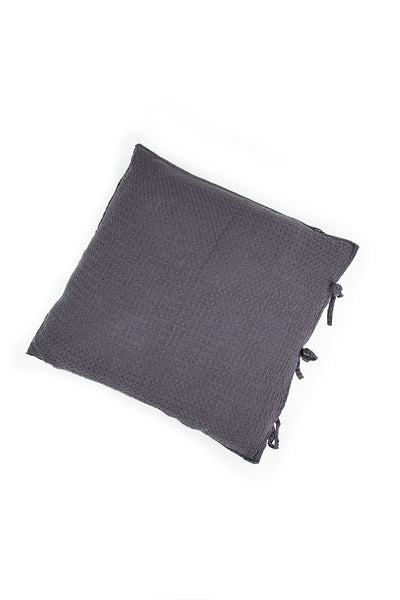 Textured Graphite Soft Linen Two Pillow Cases