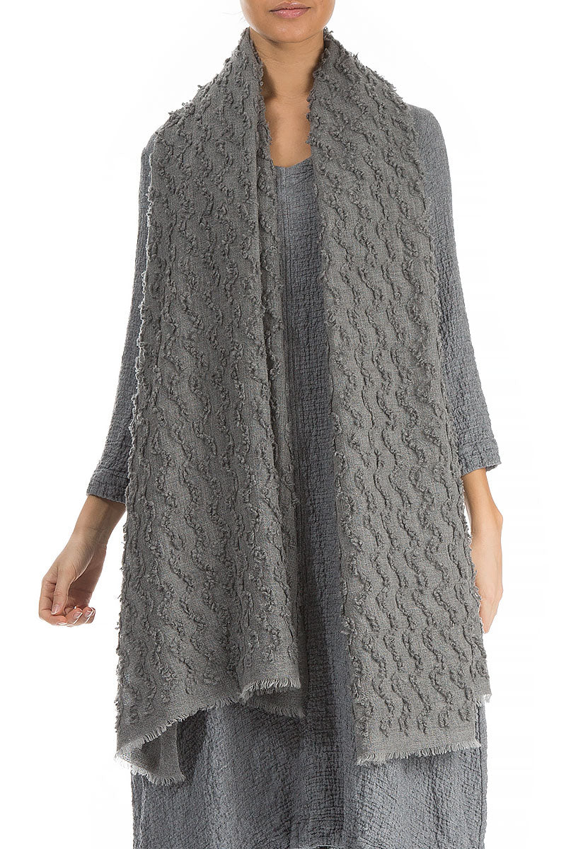 Textured Grey Pure Cashmere Scarf