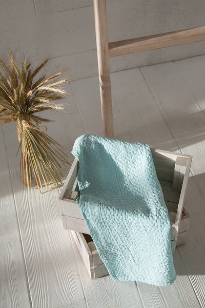 Textured Aqua Breeze Linen Towel