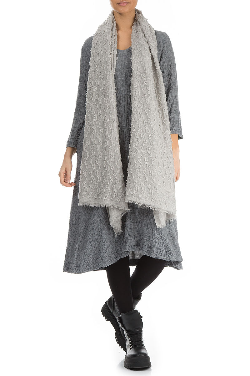 Textured Light Grey Pure Cashmere Scarf