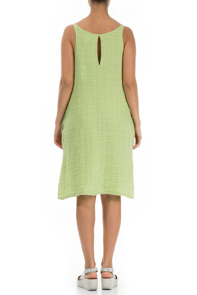 Textured Lime Linen Dress - GRIZAS | Natural Contemporary Womenswear