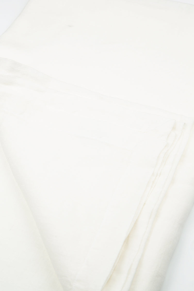 Textured Soft White Linen Table Runner