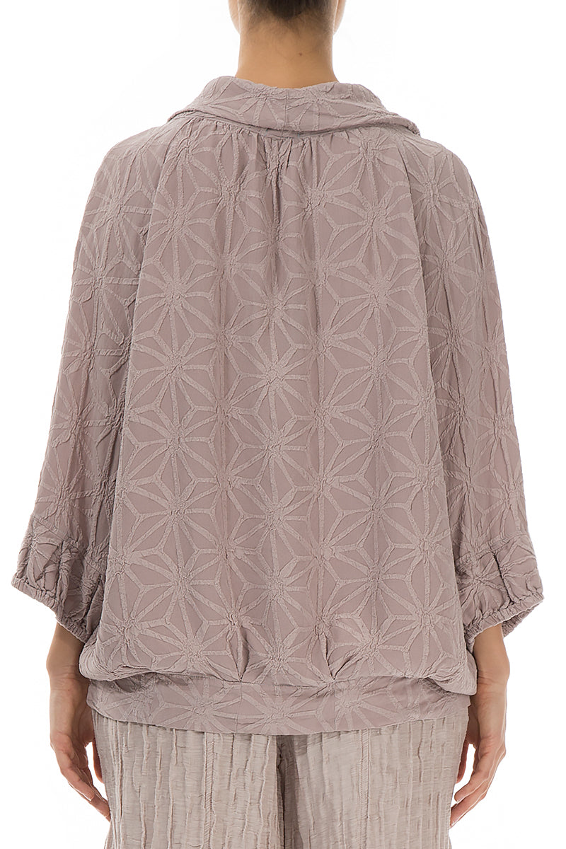 Textured Taupe Pink Silk Blouse