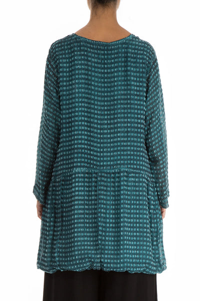 Textured Teal Silk Rayon Tunic