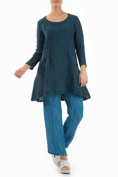 Textured Ocean Blue Linen Tunic - GRIZAS | Natural Contemporary Womenswear