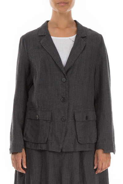 Three Pockets Tweedy Linen Blazer Jacket