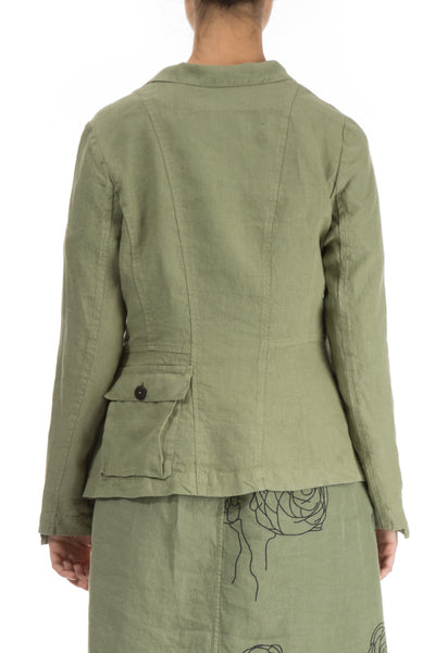 Three Pockets Khaki Linen Jacket