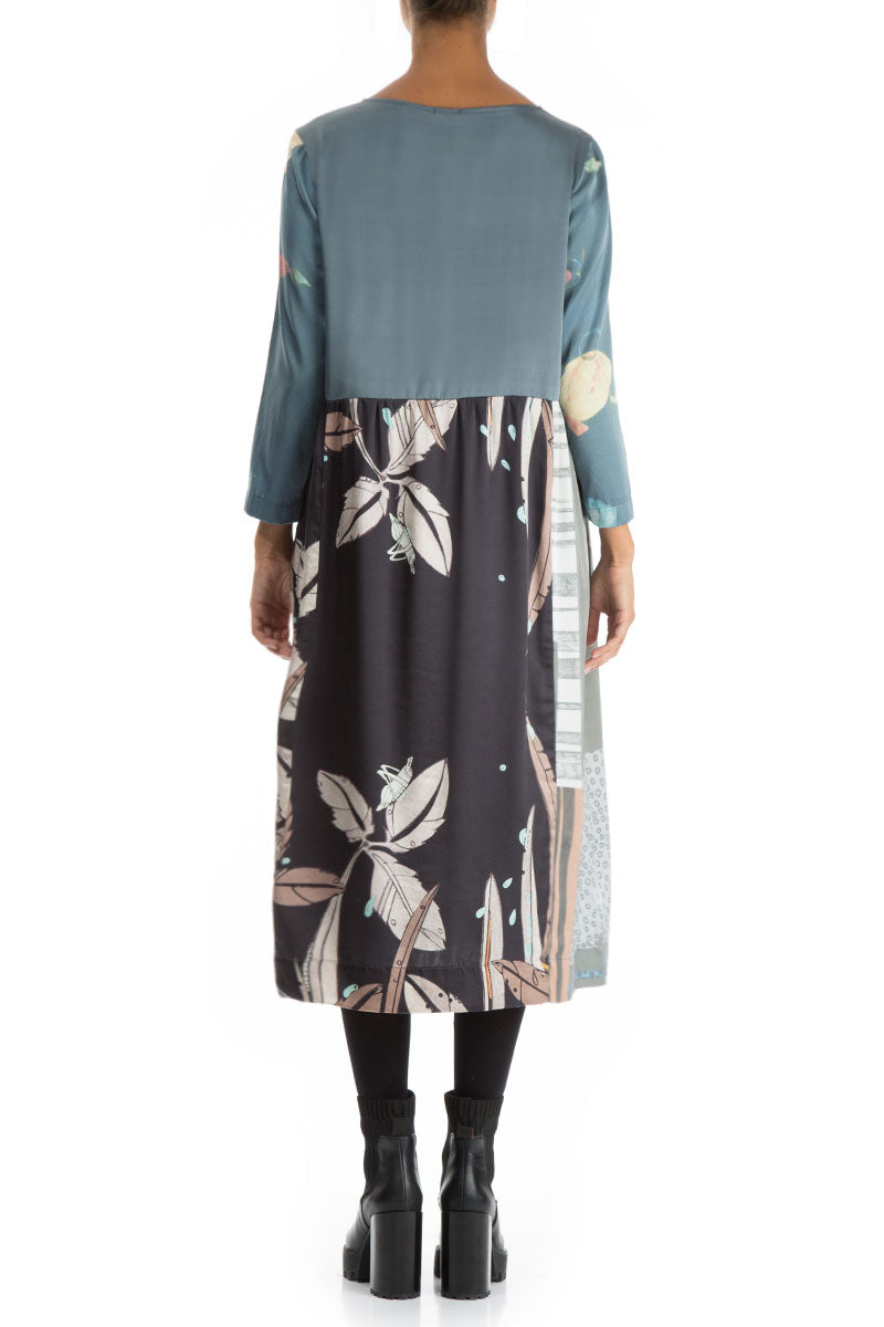 Round Neckline Mixed Prints Silk Dress