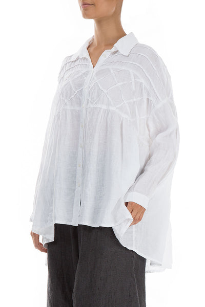Diamond Tuck Loose White Linen Shirt