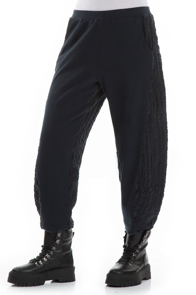 Midnight Blue Mixed Materials Trousers