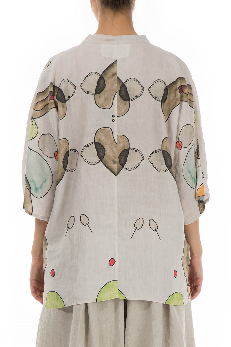 Two Pockets Abstract Print Linen Shirt