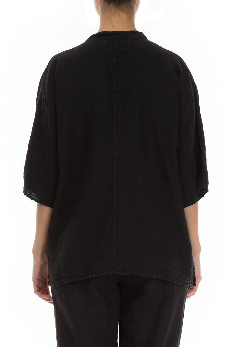 Two Pockets Black Linen Shirt