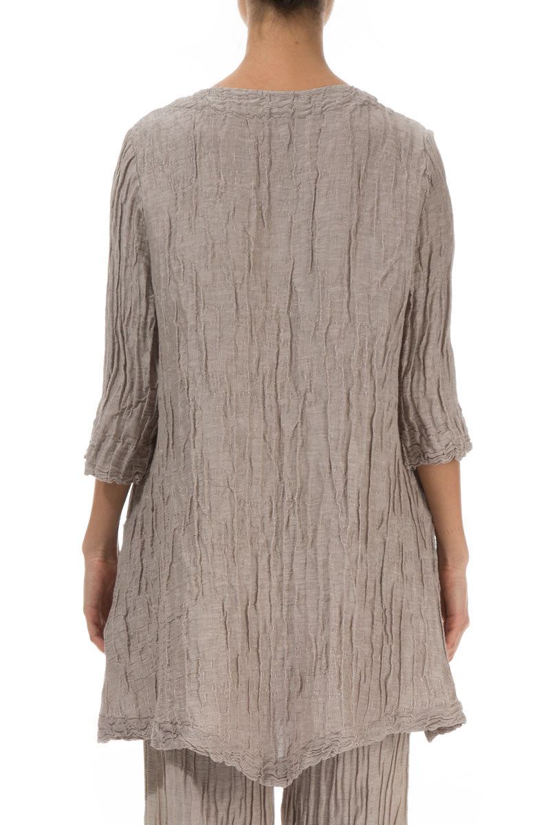 Two Pockets Crinkled Cappuccino Silk Linen Tunic