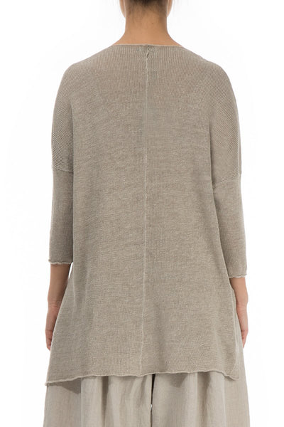 Two Pockets Natural Linen Sweater - GRIZAS | Natural Contemporary Womenswear