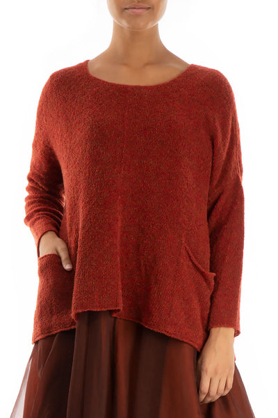 Two Pockets Rust Wool Sweater