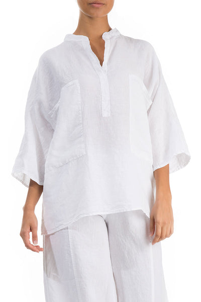Two Pockets White Linen Shirt - GRIZAS | Natural Contemporary Womenswear
