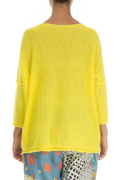 Two Pockets Yellow Linen Jumper