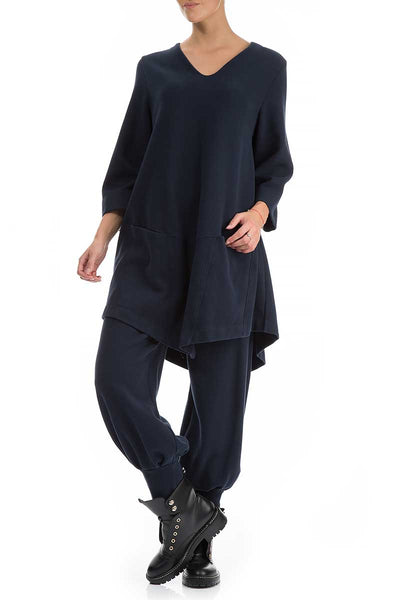 Wide Jersey Dark Blue Cotton Trousers - GRIZAS | Natural Contemporary Womenswear