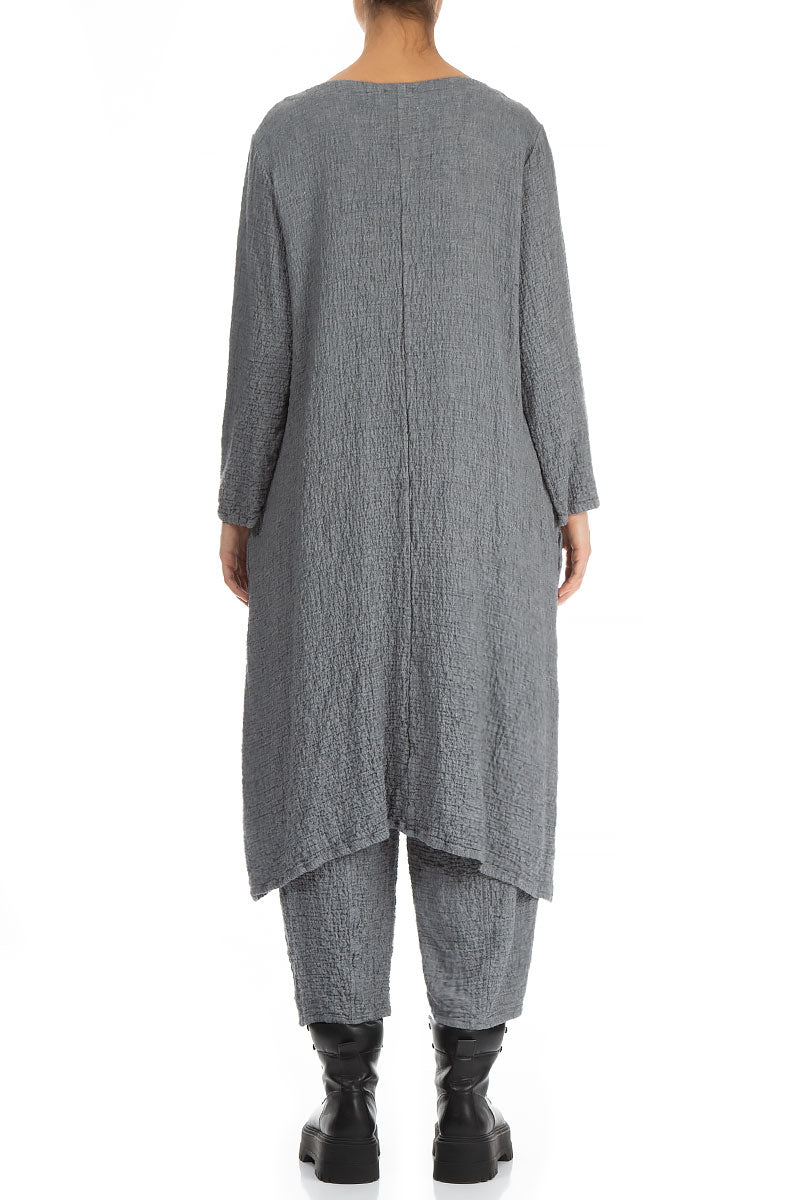 V-Neck Grey Wool Dress