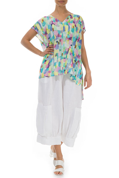 V-Neck Confetti Silk Bamboo Top