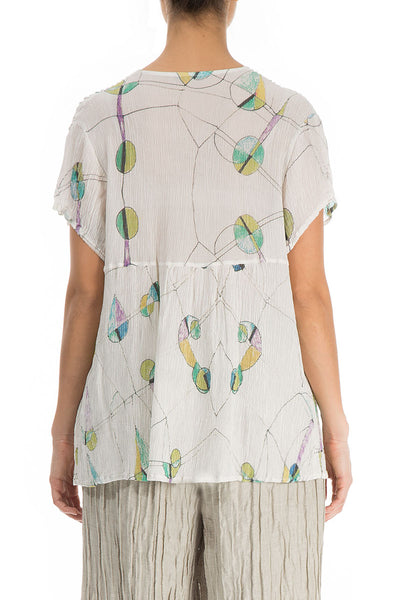 V-Neck Crinkled Printed Silk Viscose Blouse