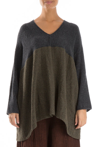 V-Neck Dark Grey & Khaki Wool Sweater