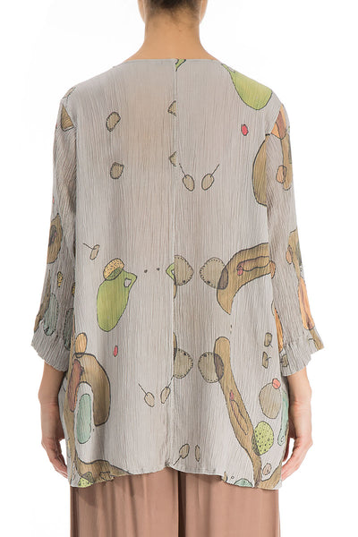 V-Neck Earthy Silk Viscose Tunic