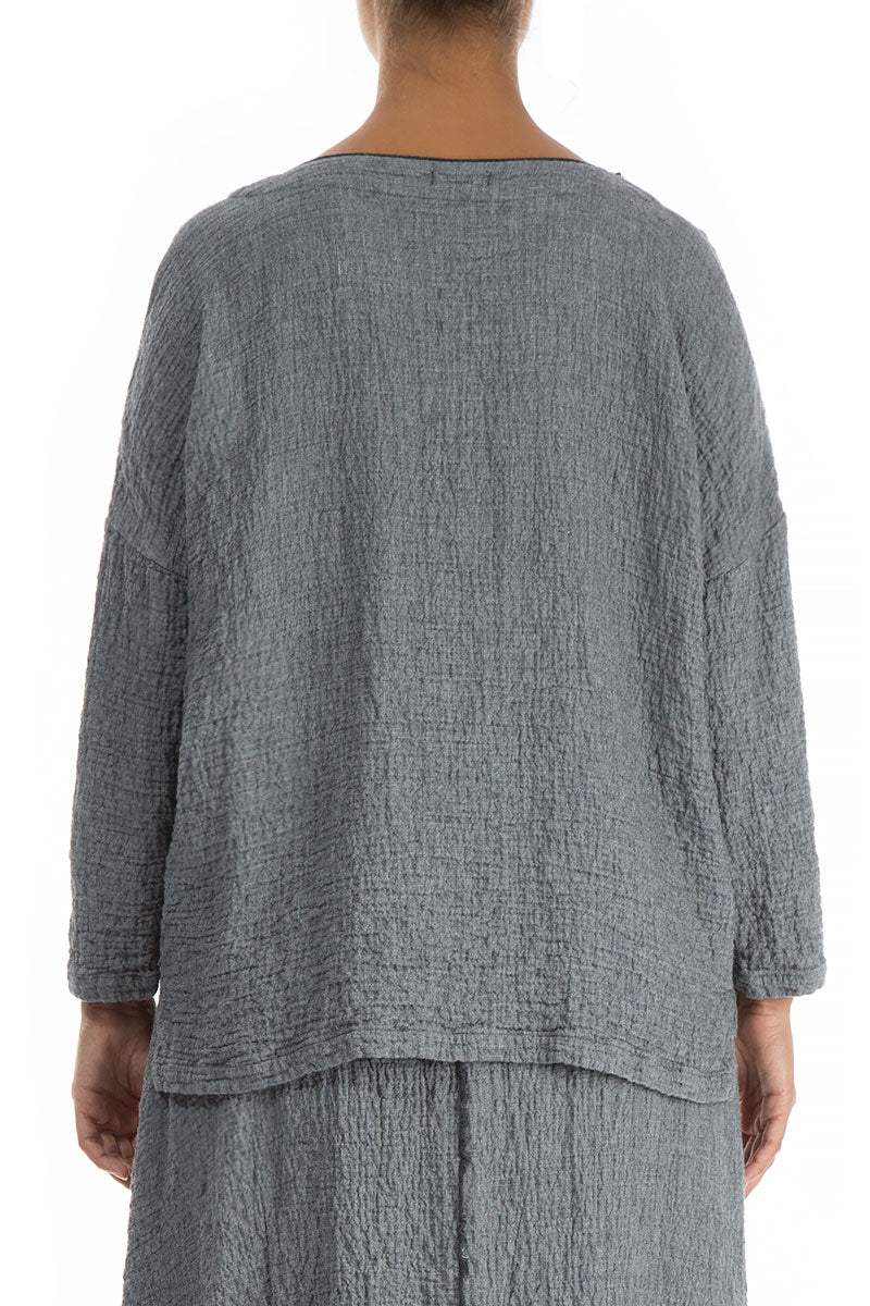 V-Neck Grey Wool Blouse