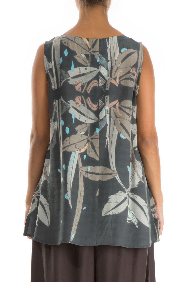 V-Neck Leaves Print Silk Bamboo Tunic