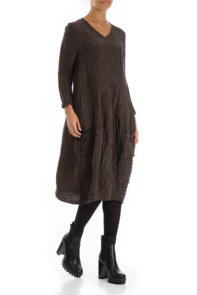V-neck Crinkled Ash Silk Linen Dress