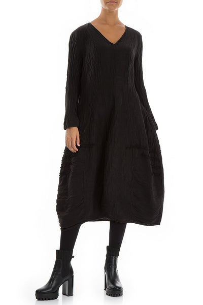 V-neck Crinkled Black Silk Linen Dress