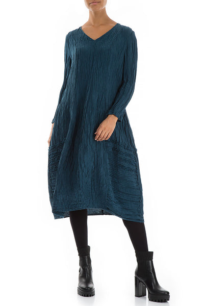 V-neck Crinkled Peacock Blue Silk Linen Dress