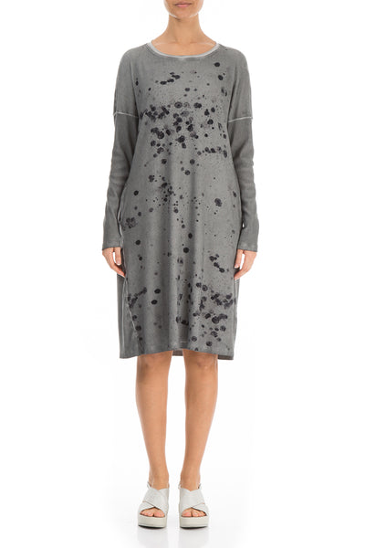 Washed Out Splash Grey Cotton Dress