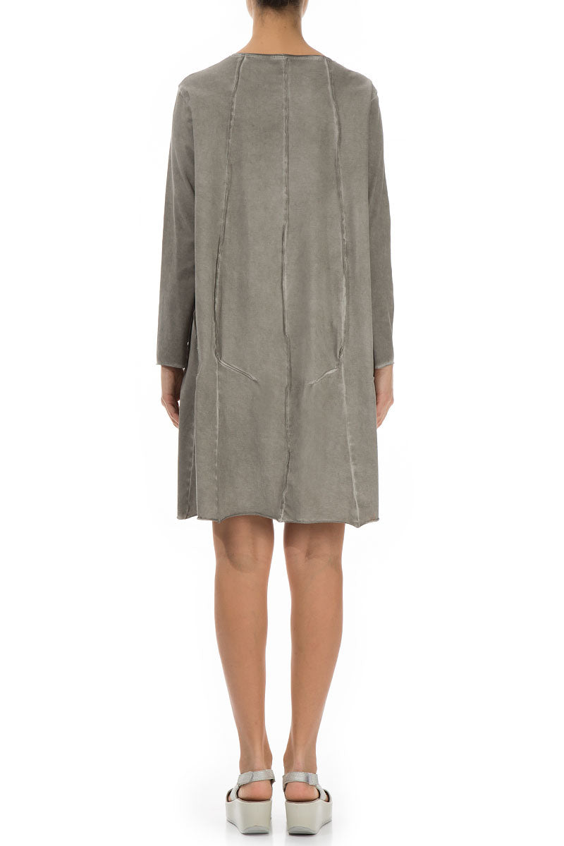 Washed Out Taupe Cotton Dress - Tunic