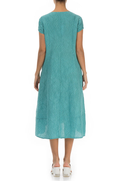 Waves Aqua Green Silk Dress