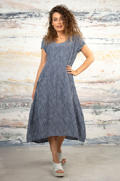 Waves Blue Iris Silk Dress