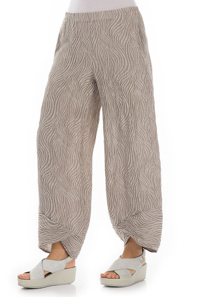 Waves Cappuccino Silk Trousers