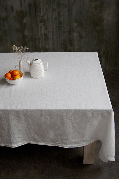 White Soft Linen Tablecloth