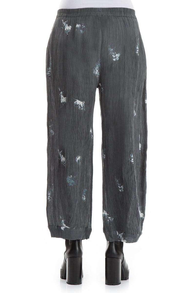Wide Abstract Print Silk Viscose Trousers