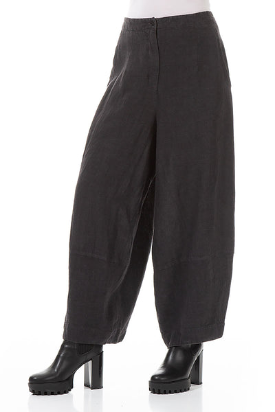 Wide Anthracite Linen Trousers