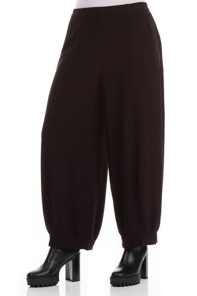 Wide Aubergine Viscose Trousers